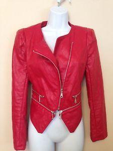 Forever 21 Red Leather Zippered Moto Motorcycle Jacket Size Small New $17
