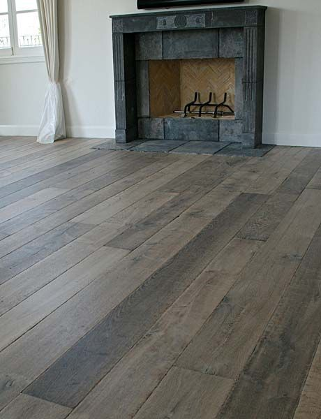 Our custom aged french oak floors are extremely popular - Grey wood floors modern interior design ...