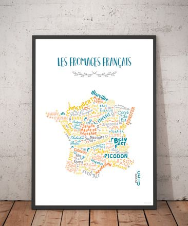 Affiche Les fromages français - Création originale en 2020 | Fromages de france, France et Carte ...