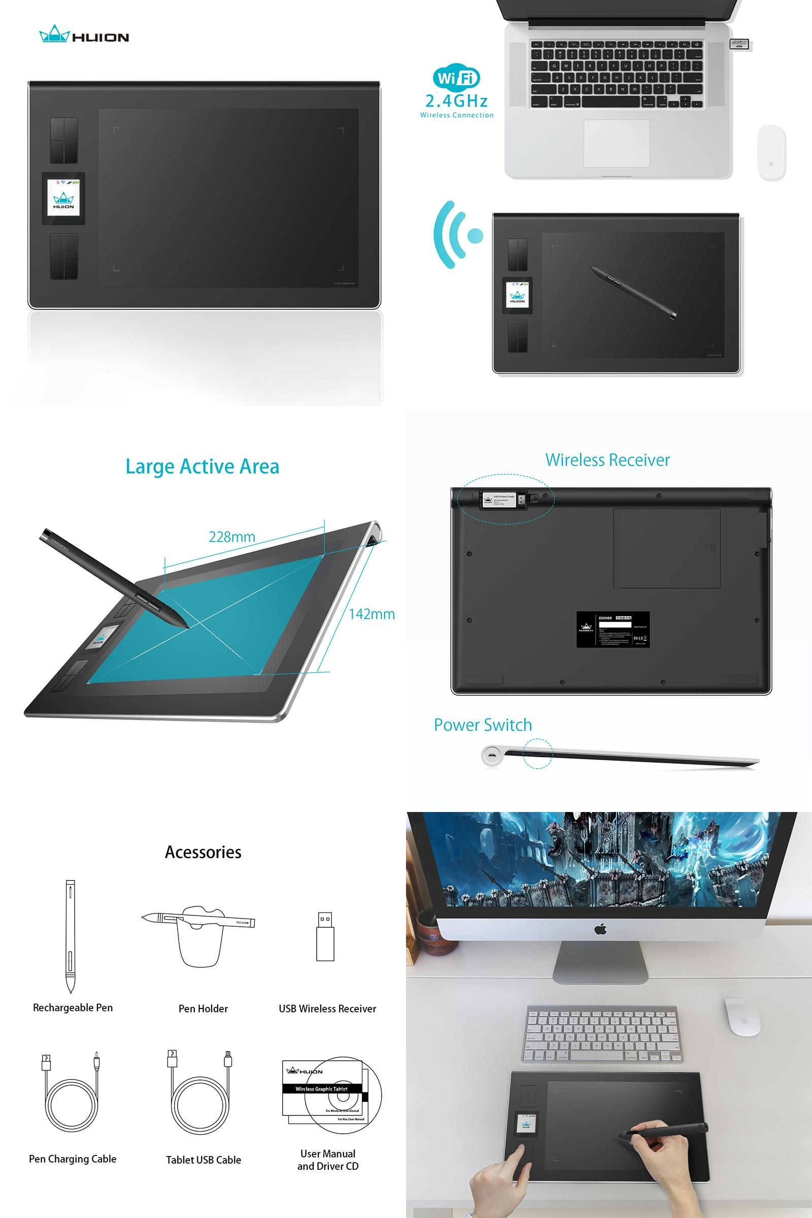 Visit to Buy] Huion Genuine Wireless Lcd Screen Graphics Drawing