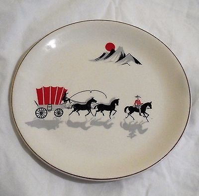 Gorgeous Vintage 1950's Alfred Meakin Large Plate with Cowboys & Wagons in Pottery, Porcelain & Glass, Pottery, Alfred Meakin   eBay