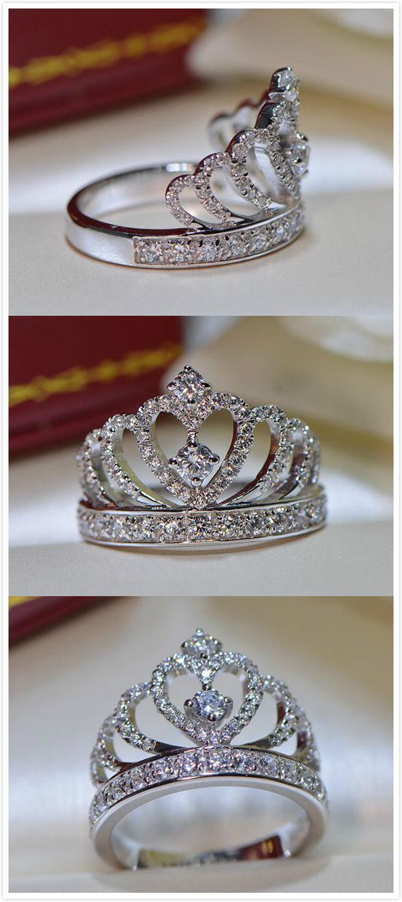 sparkle CZ crown promise / engagement ring for