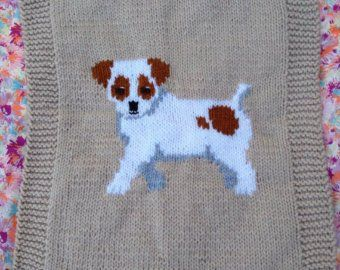 Schnauzer Puppy Pram Cover/Comfort Blanket chunky knitting ...