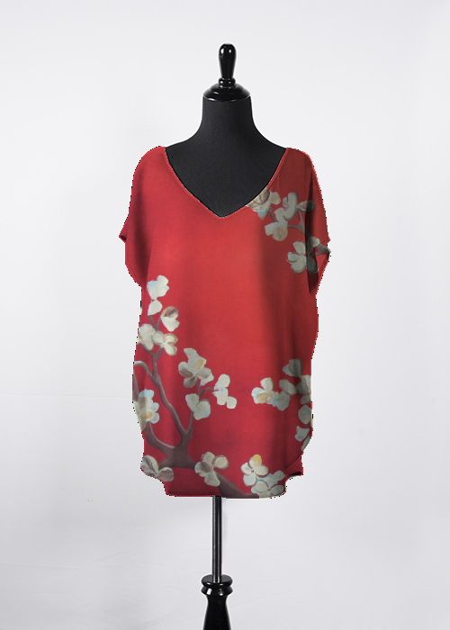 Blossoms on red Essential Top by Shiela Gosselin in 2020