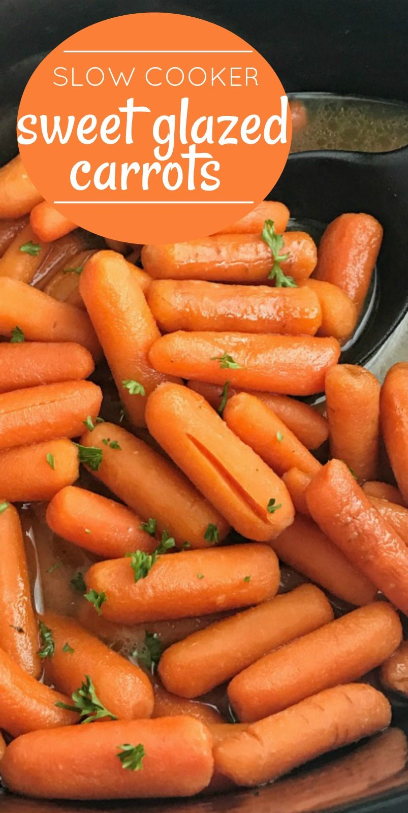 Slow Cooker Sweet Carrots | Side Dish Recipe | Slow Cooker Recipes | Sweet Carrots are made in the slow cooker with only 5 ingredients! Baby carrots simmer in a sweetened chicken broth and butter all day for the best, most tender, and delicious sweet carrots. Perfect side dish for dinner or fancy enough for a Holiday meal. #crockpotrecipes #carrots #carrotrecipes #sidedishrecipes #recipeoftheday #thanksgivingsidedishrecipes #slowcooker #chickensidedishes