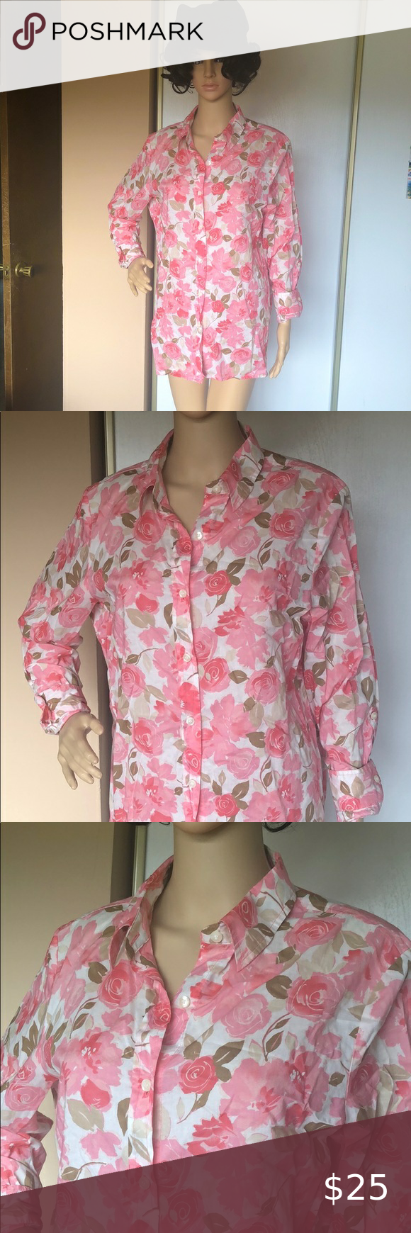 ❤️ Pink floral blouse, 🌸button down size large Pink floral button down blouse. Gorgeous pink and white floral roses button down blouse. Size large. Rose blouse. Rose top. #buttondowntop #floraltop #floral #pinkfloraltop #pinktop #pinkandwhite #pinkroses #rosetop villager Tops Button Down Shirts