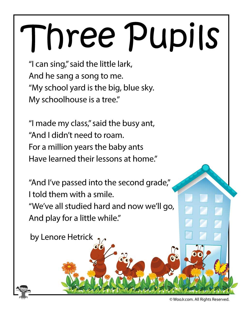 Best Three Pupils School Poetry for Kids | Woo! Jr. Kids Activities Short Poems For Kids Today From woojr.com
