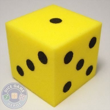Foam Dice Yellow 25mm D6 Foam Craft Projects Yellow