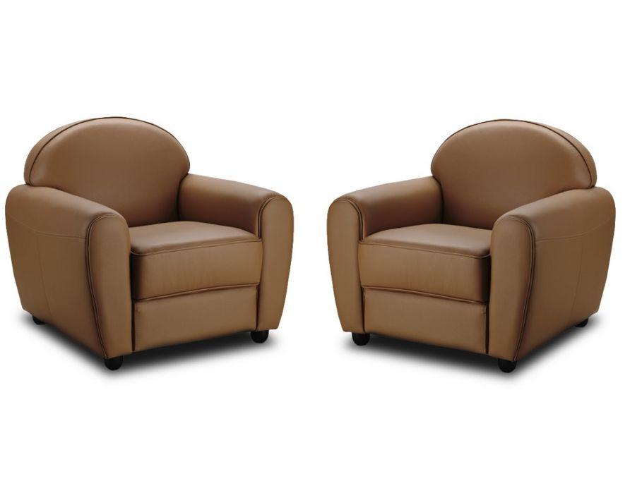 Lot de 2 fauteuils club en cuir TOFFEE Caramel