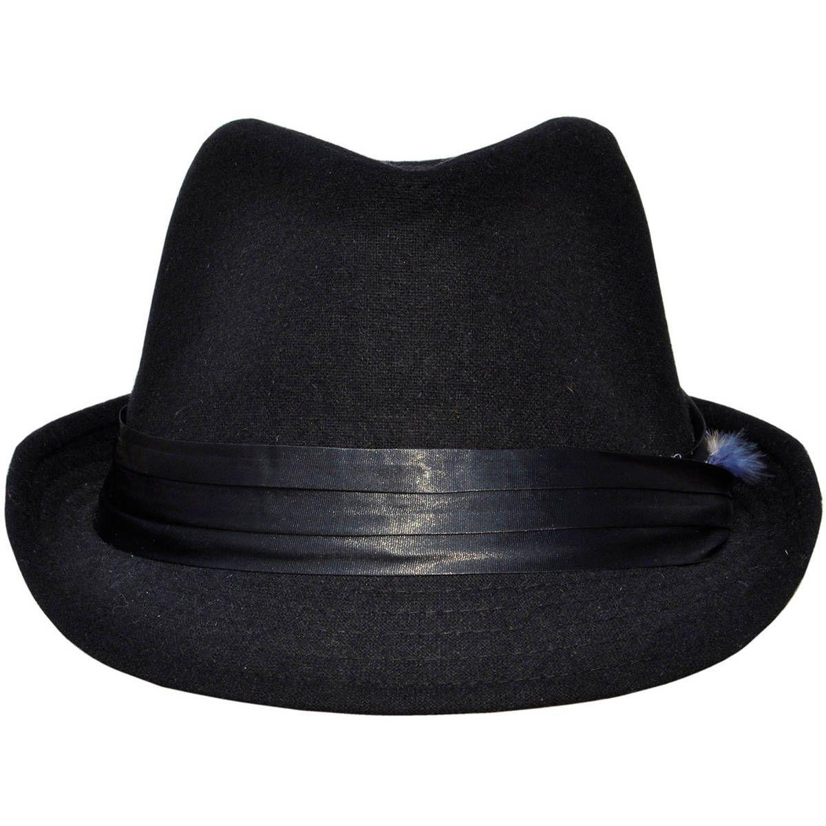 2f8641cc4f6d6d Simplicity Unisex Teardrop-Dent Pinstriped Short Brim Fedora Cap  (black/orange fur), Size 4 inches, Front Brim: 1