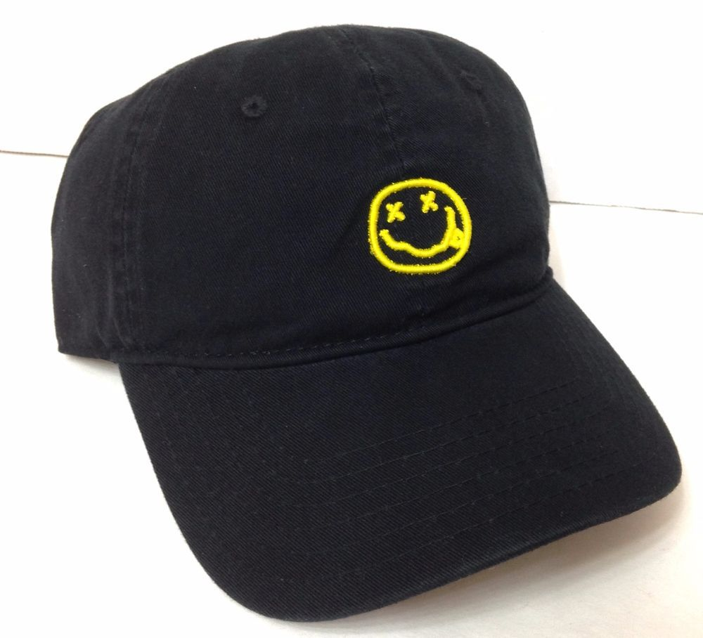 59bab9850fa  24 Nirvana Hat Relaxed dad 90S Music Grunge Black Yellow Smiley