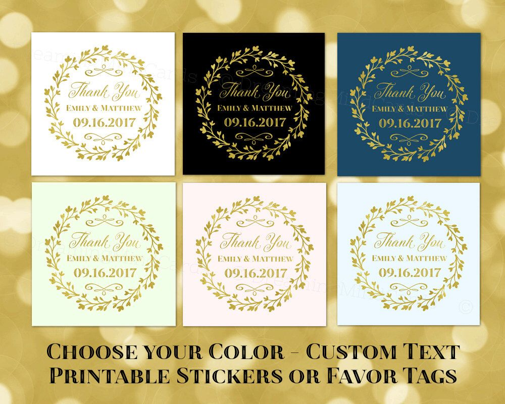 Custom Text Wedding Baby Shower Thank You Favor Tags Printable Gold ...