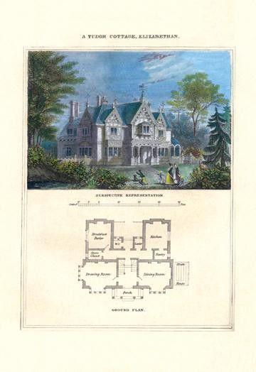 A Tudor Cottage Elizabethan 12x18 Giclee on canvas