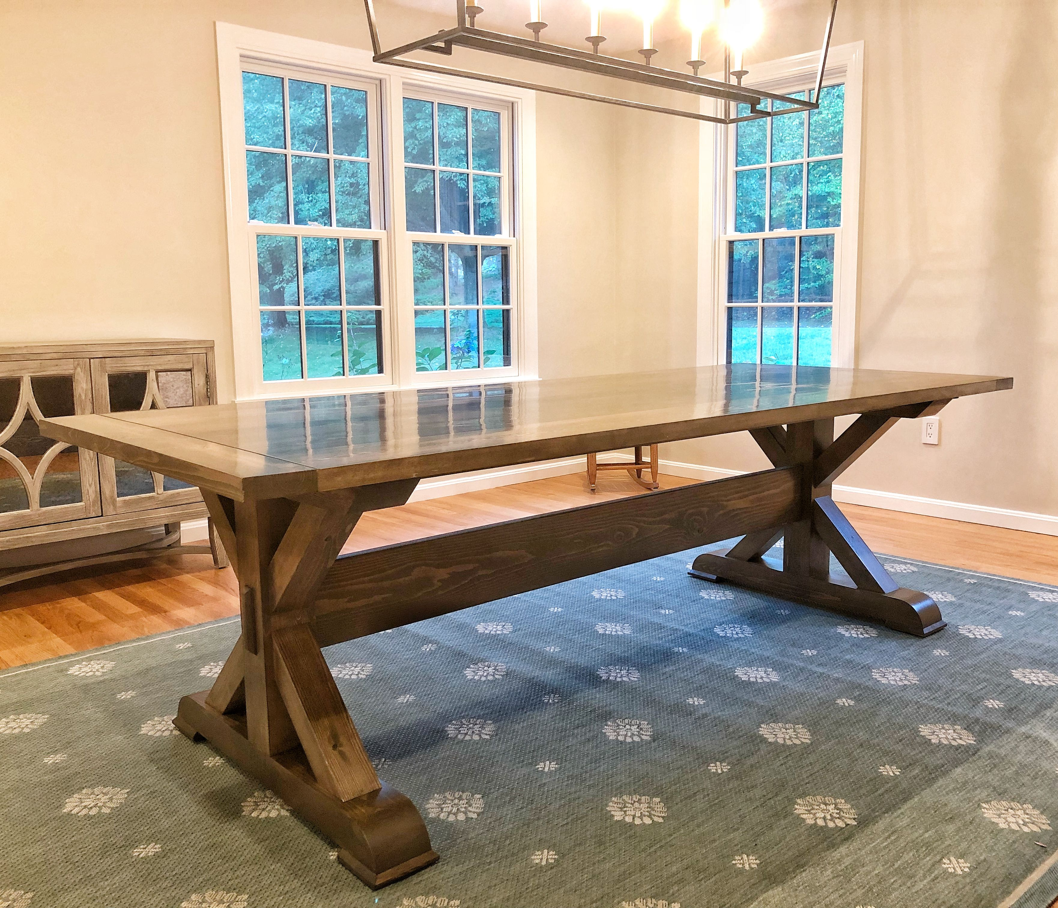 Beautiful 8ft Hand Crafted Farm Table Shown Here In Homedepots Briarsmoke Stain By Varathane