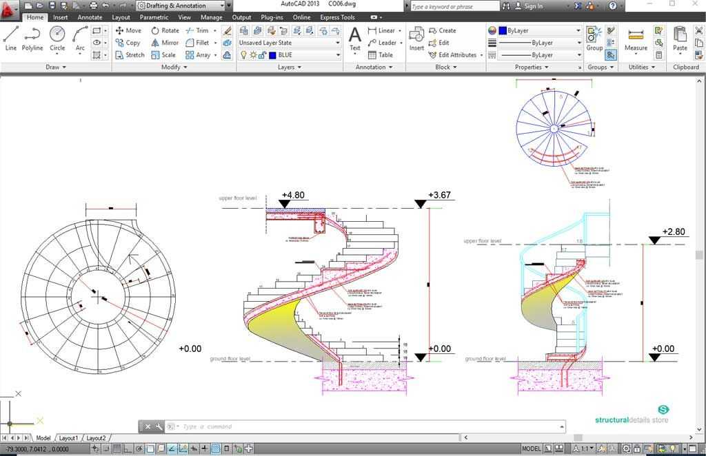 CST01-Reinforced Concrete Spiral Helical Staircases