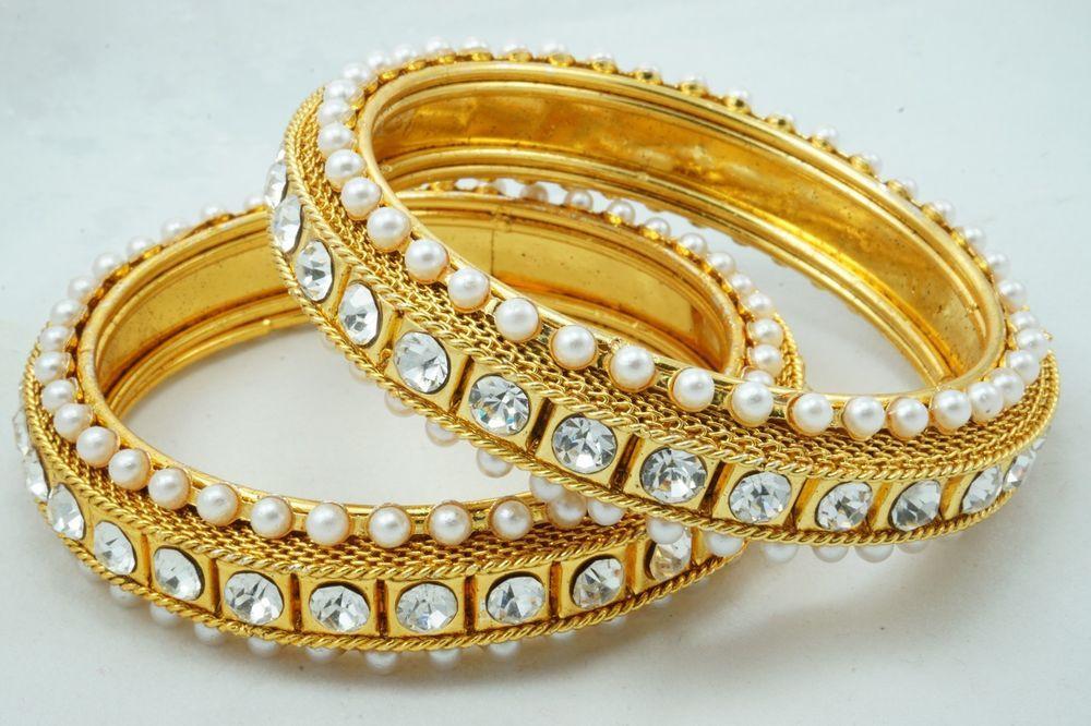 INDIAN BOLLYWOOD PEARL POLKI KUNDAN GOLD PLATED BRIDAL BANGLES BRACELET 2PC SET  #Handmade #Bangle