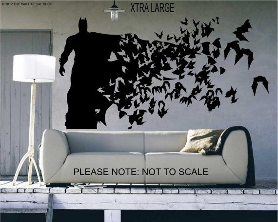 Wonderful Batman ( Xtra Large Size)   Wall Decal   Wall Art Sticker   ( Black Outline  Shown )