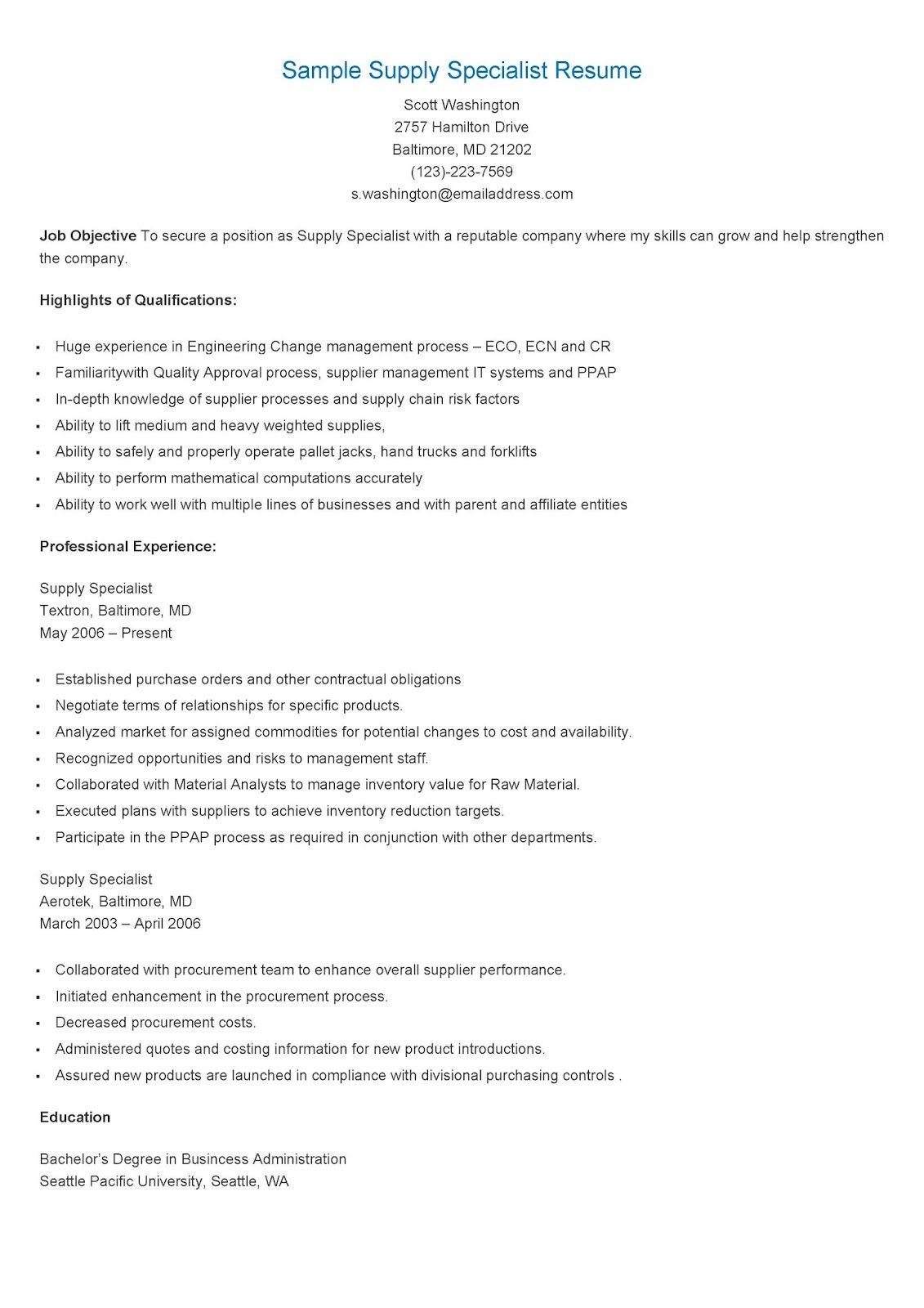Sample Supply Specialist Resume Resume, Sample resume