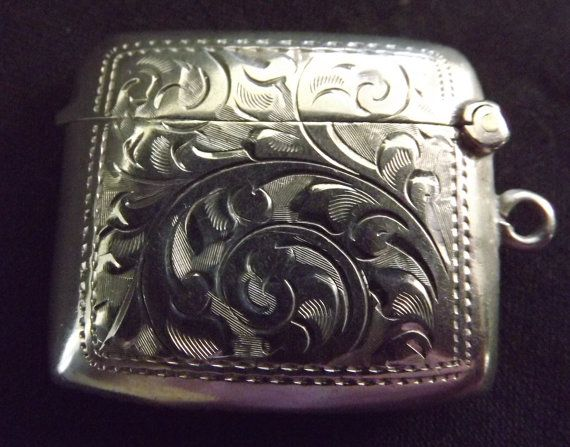 Antique Sterling Silver Match Safe Vesta Case by SILVERFOXTHINGS
