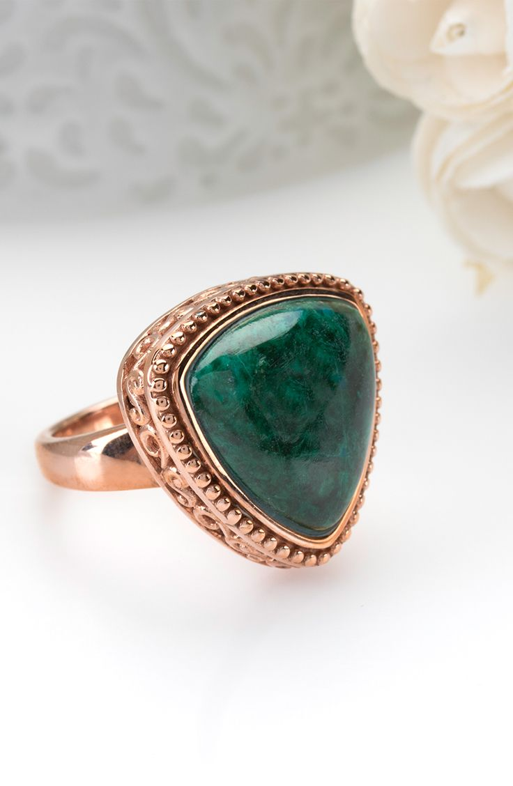 Lovely green tone of this ring. A color perfect for all seasons. | Trillion Cabochon Chrysocolla Copper Ring