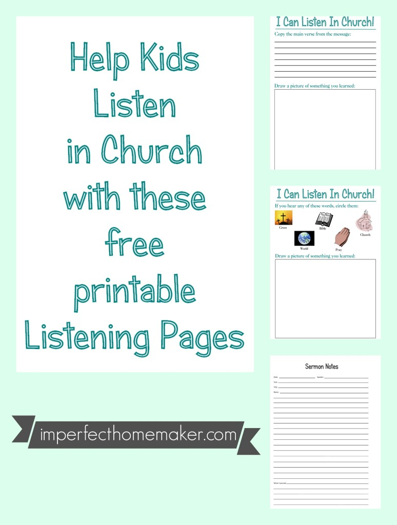 Help Kids Listen in Church {Free Printables}   Imperfect Homemaker