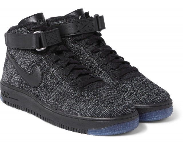 new product e547e fc9c0 Nike Air Force 1 Flyknit Mesh High-Top Sneakers