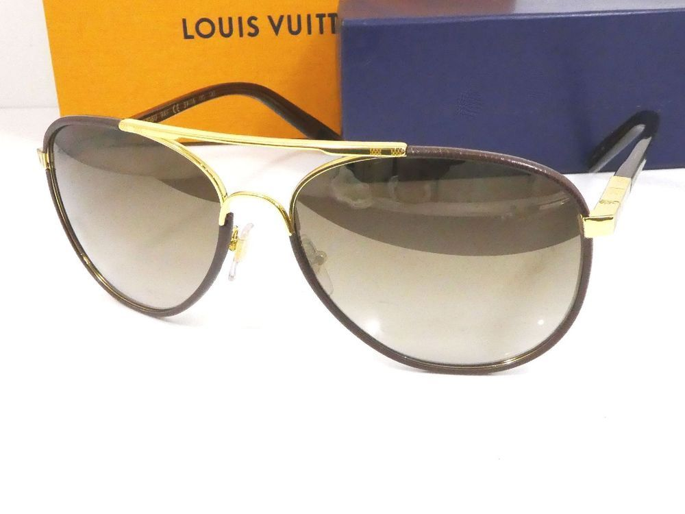 7c19e71c7f11b Auth Louis Vuitton Sunglasses Attraction Pilot Gold Brown 59 16 145 Italy  C1520  fashion