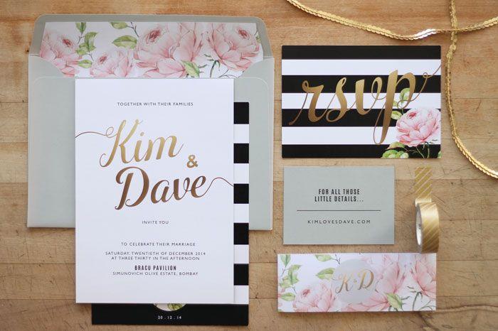 Wedding Invitation Stationery Design NZ By Just My Type Black White