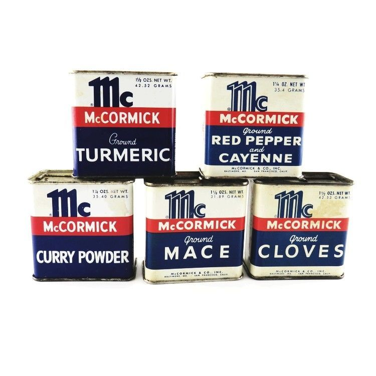 Lot of 5 1960s Vintage McCormick Spice Tins Tumeric Mace