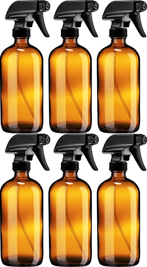 Amazon Com Sally S Organics Empty Amber Glass Spray Bottle Large 16 Oz Refillable Container For Essential O Glass Spray Bottle Trigger Sprayer Spray Bottle