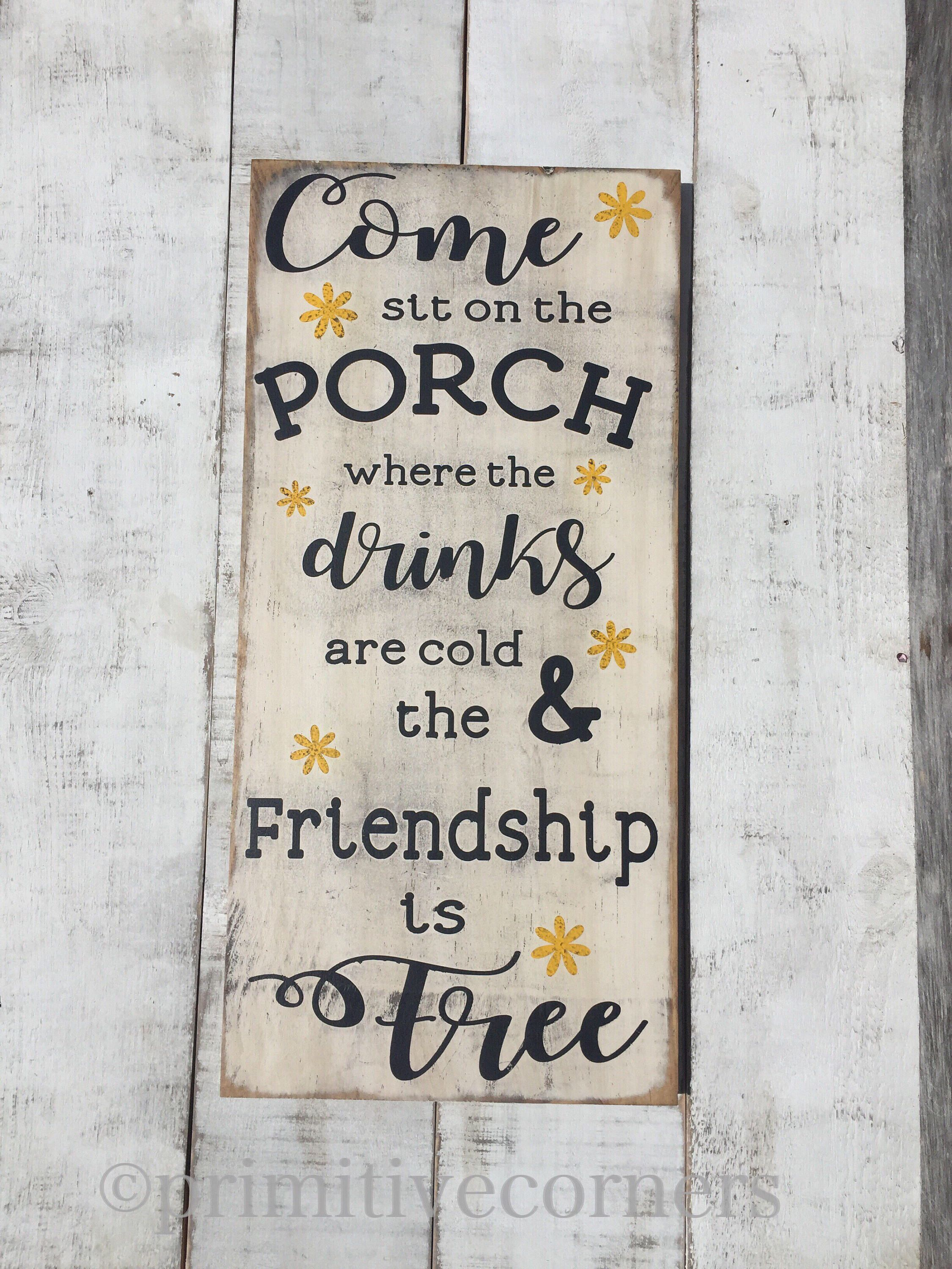 Porch Sign Decor Wood Signs Summer Country Primitive
