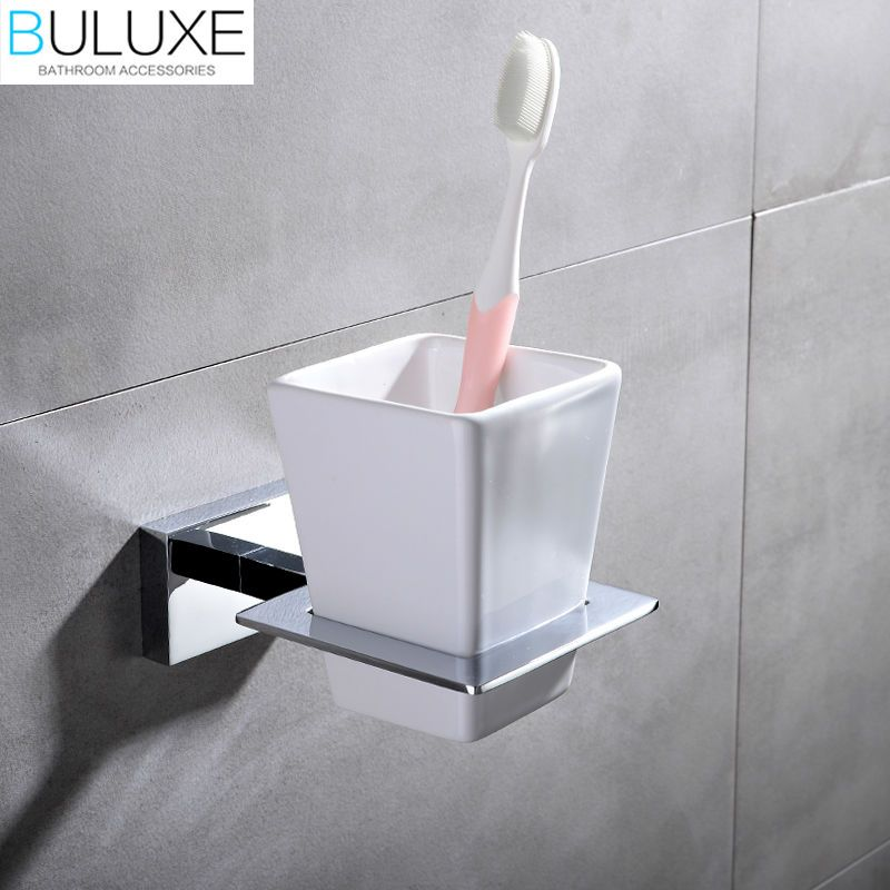 BULUXE Brass Bathroom Accessories Toothbrush Holder Wall Mounted - Bathroom cup holders wall mount for bathroom decor ideas