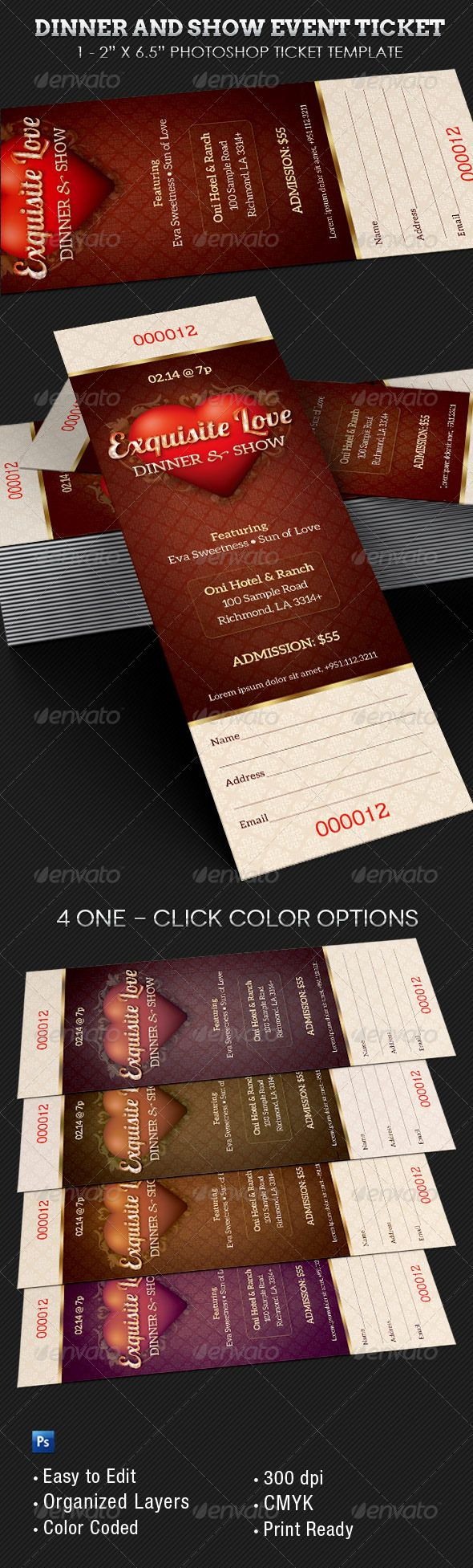 Dinner And Dance Event Ticket Template Miscellaneous Print