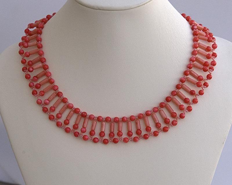 Coral collar necklace N1380 by Fleur-de-Irk