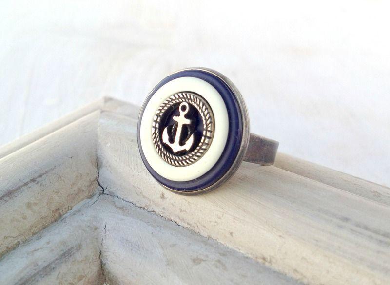 ⚓ Ahoi! Anker ⚓ Maritimer Vintage-Knopf ⚓ Ring ⚓