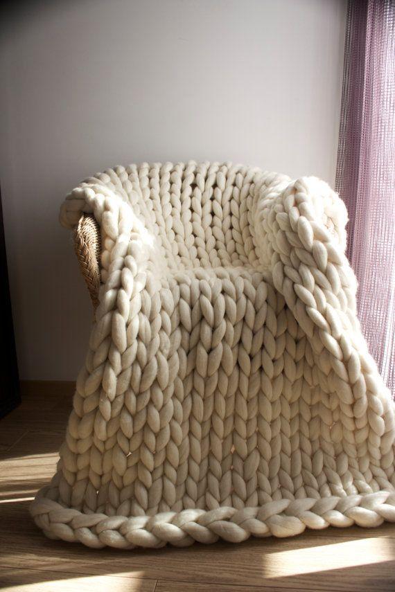 Chunky knit throw Merino wool Wool throw Chunky by SaintWools