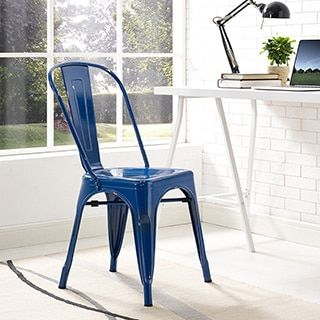shop for metal café chair navy blue get free shipping at