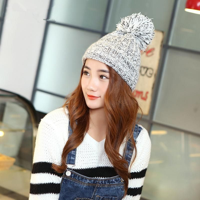 72300b50027 Fashion Korean Autumn And Winter Lady Hats Newest Knitting Ball Wool Cap Hat  Casual Outdoor Sport Cap For Women Warm Beanies