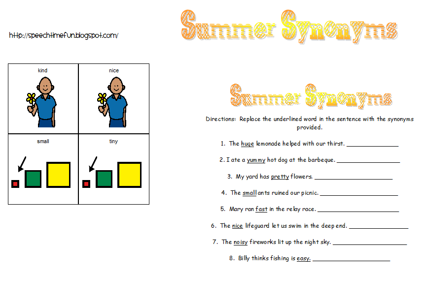 Summer Synonyms Speech Therapy Crafts Speech And Language Language Activities