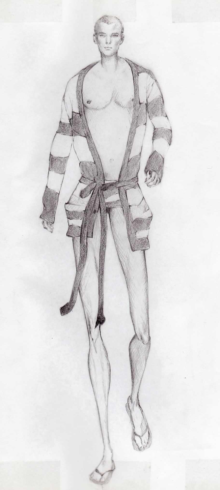 Pencil drawing of male model for fashion illustration course ...
