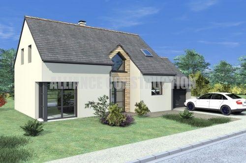 Jeu de matières pour la façade de ce modèle de maison Alliance - modele de construction maison