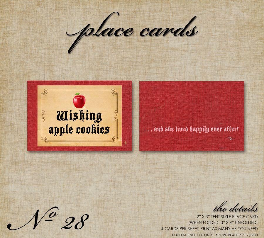 No.28 Snow White Place Cards. $9.95, via Etsy.