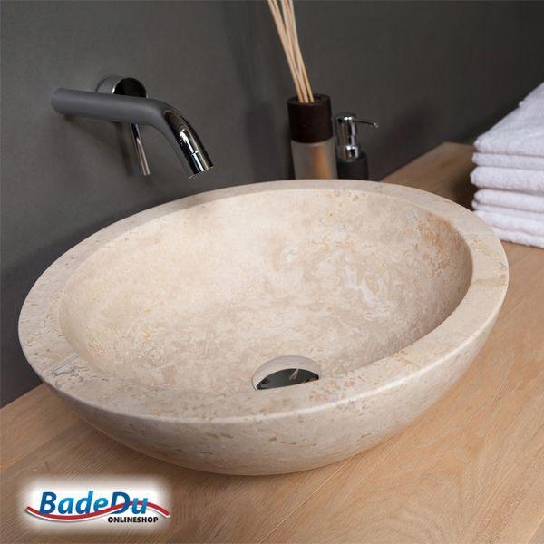 Travertin Bad mehr natur im bad das waschbecken aus naturstein modell roma