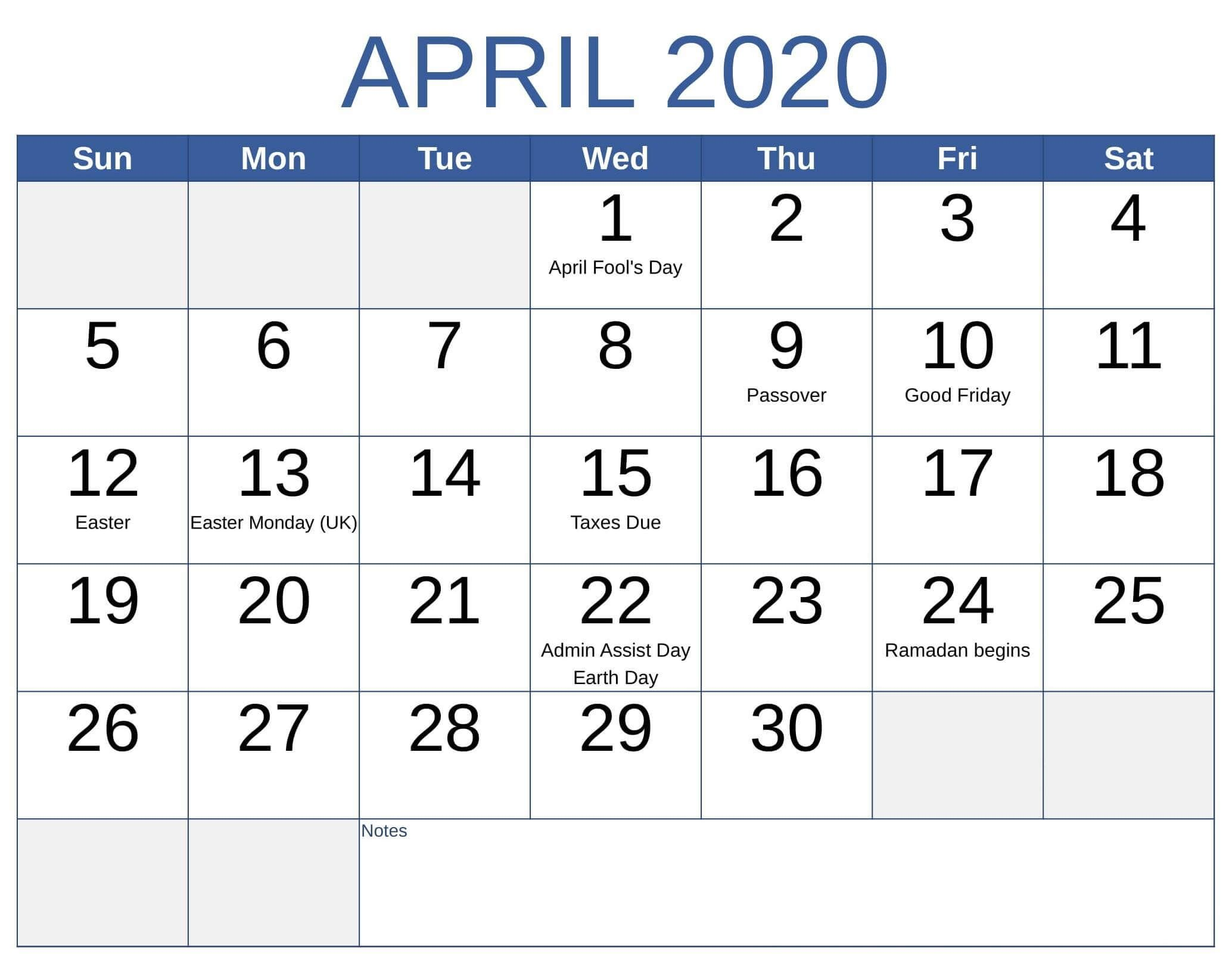 Printable April 2020 Holidays Calendar In 2020 Federal Holiday Calendar Holiday Calendar Holiday