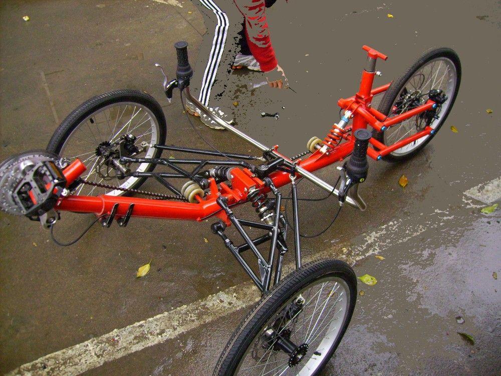 Full Suspension Recumbent 3 Wheels Fat Tire Trike Dogs 3rd Wheel