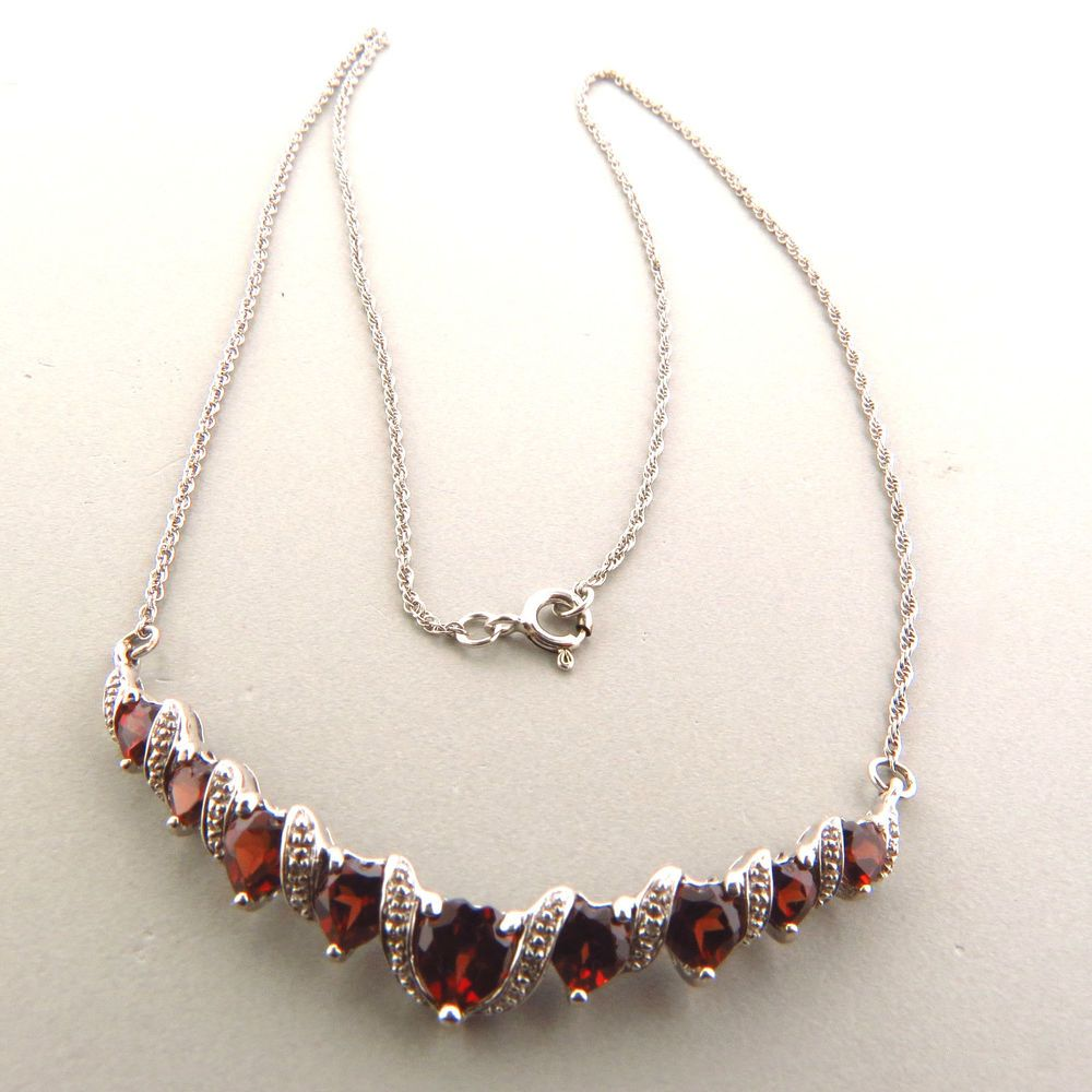 Sterling silver heart garnet pendant necklace choker 1825 3 ct sterling silver heart garnet pendant necklace choker 1825 3 ct unbranded choker mozeypictures Image collections