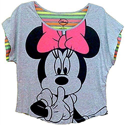 c3fcbb82f1cd0 Disney Classic Minnie Mouse  Shhhhh  Junior Girls Crop Top- Grey ...