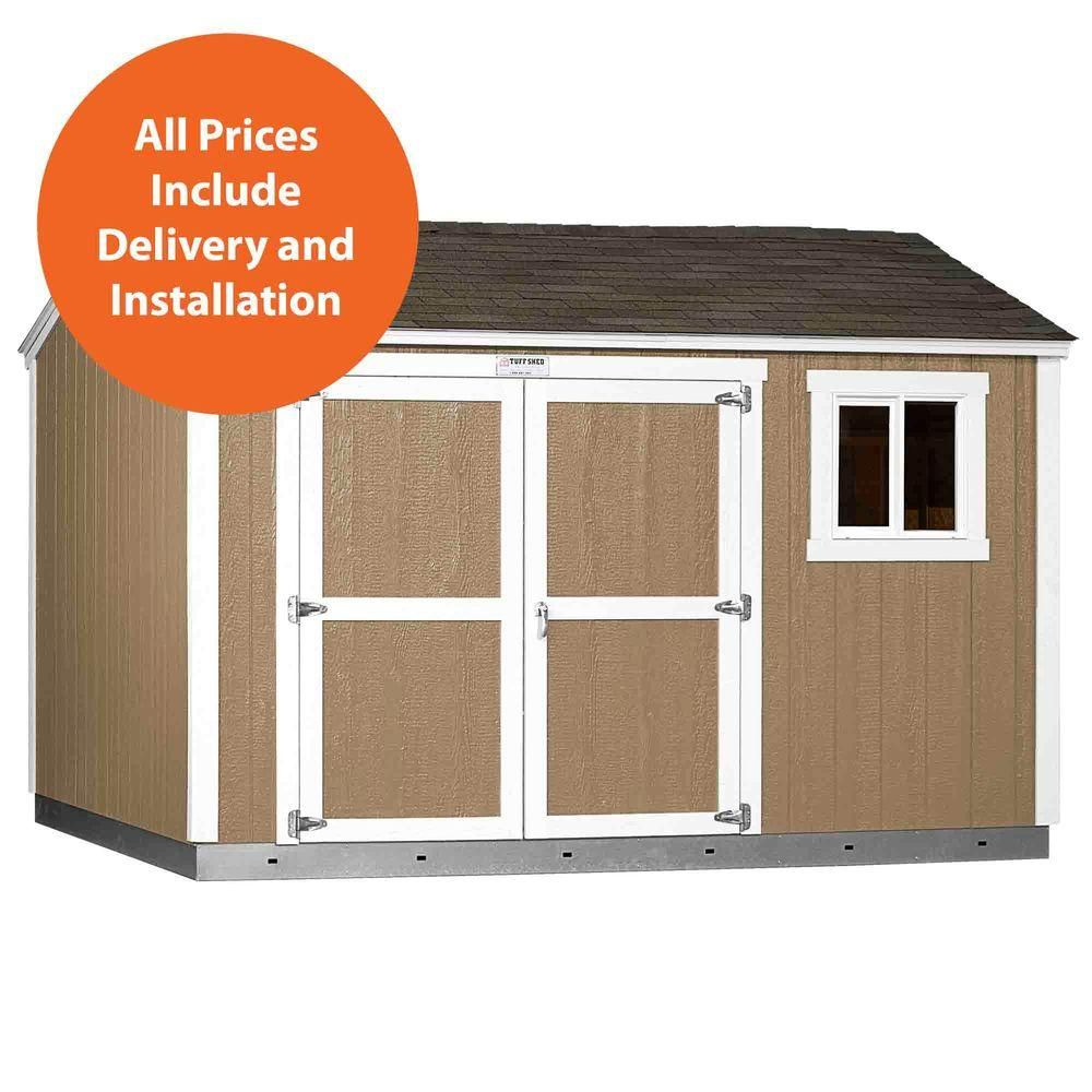 Tuff Shed Installed Tahoe 10 Ft X 12 Ft X 8 Ft 10 In Painted Wood Storage Shed With Shingles With Sidewall Double Door Ta Tuff Shed Wood Storage Sheds Shed