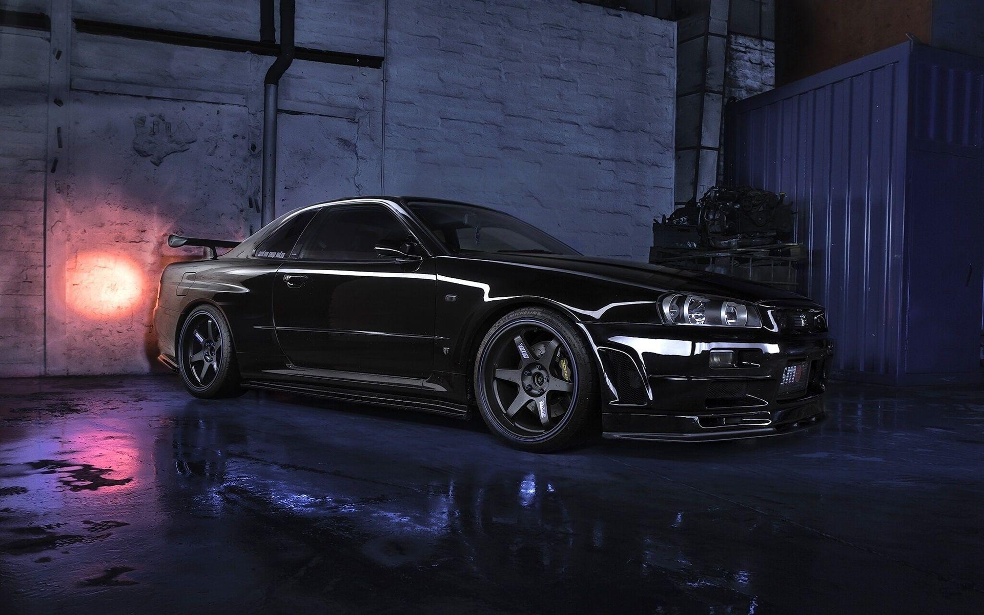 Nissan Skyline R34 Gtr V Black Car Night Nissan Skyline R34 Nissan Skyline Skyline Gtr R34