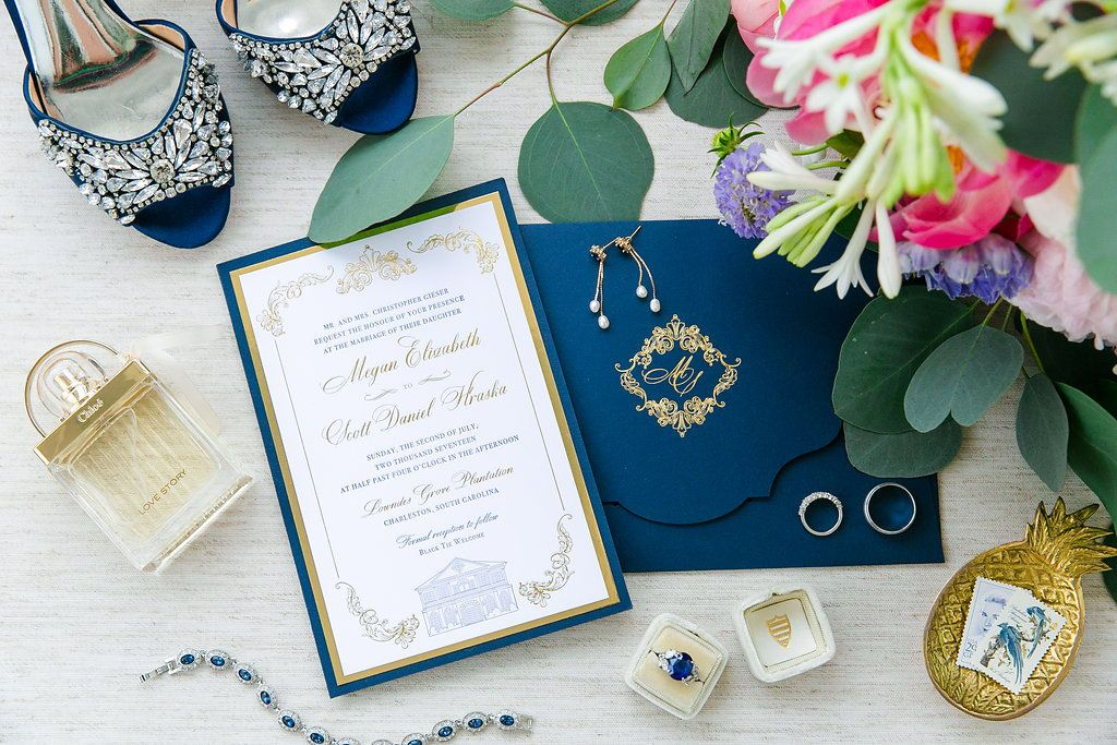 Blue And White Wedding Invitations With Gold Accents Royal Blue